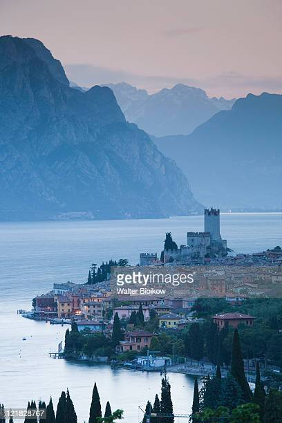 Aerial town view, Malcesine, Lake Garda, Lake District, Veneto, Italy