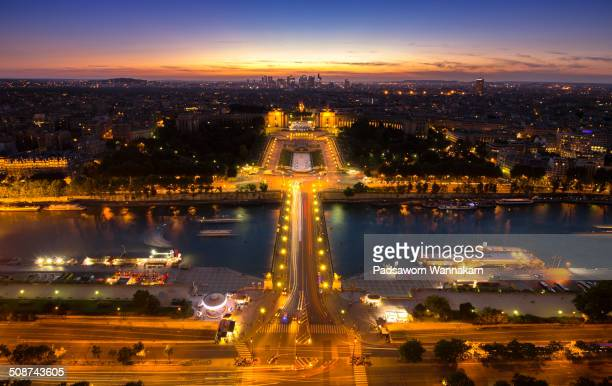 Aerial twillight view of Palais de Chaillot and Rhine river Paris