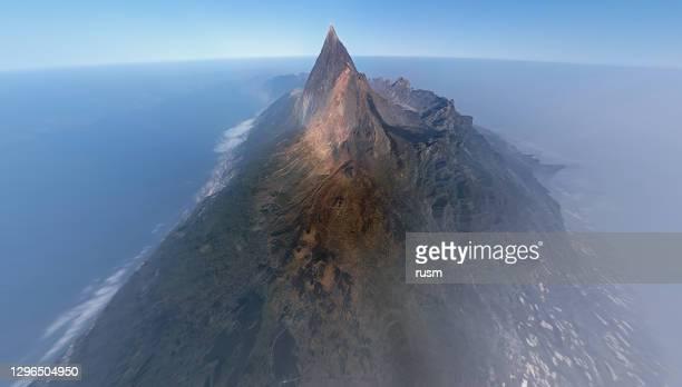 帝化島、カナリア諸島、スペインのテイデ国立公園における空中超広角火山景観 - 大西洋諸島 ストックフォトと画像