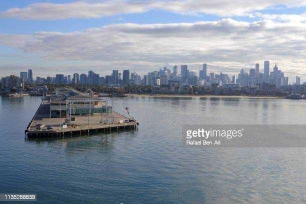 aerial urban landscape view of melbourne city skyline - rafael ben ari stock pictures, royalty-free photos & images