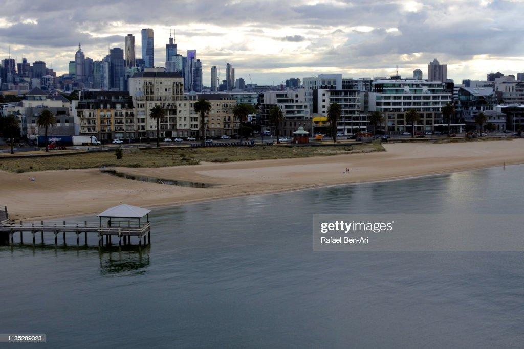 Aerial urban landscape view of Melbourne city skyline : Stock Photo