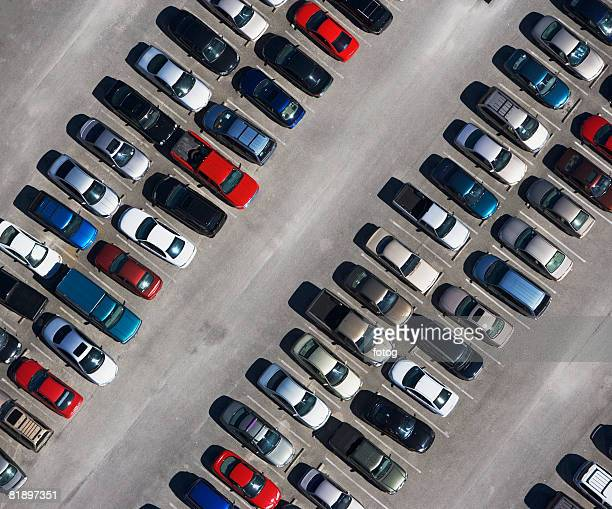 aerial veiw of cars in parking lot