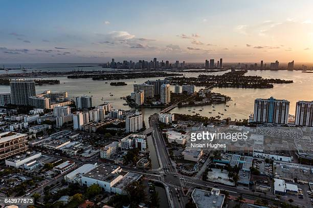 aerial venetian islands downtown miami in distance - downtown miami stock pictures, royalty-free photos & images