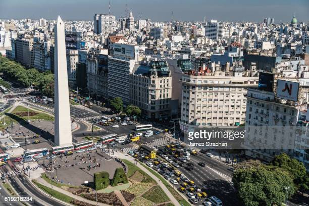 Aerial vew of main boulevard, Av de 9 Julio, with landmark Obelisk and cityscape, Buenos Aires, Argentina