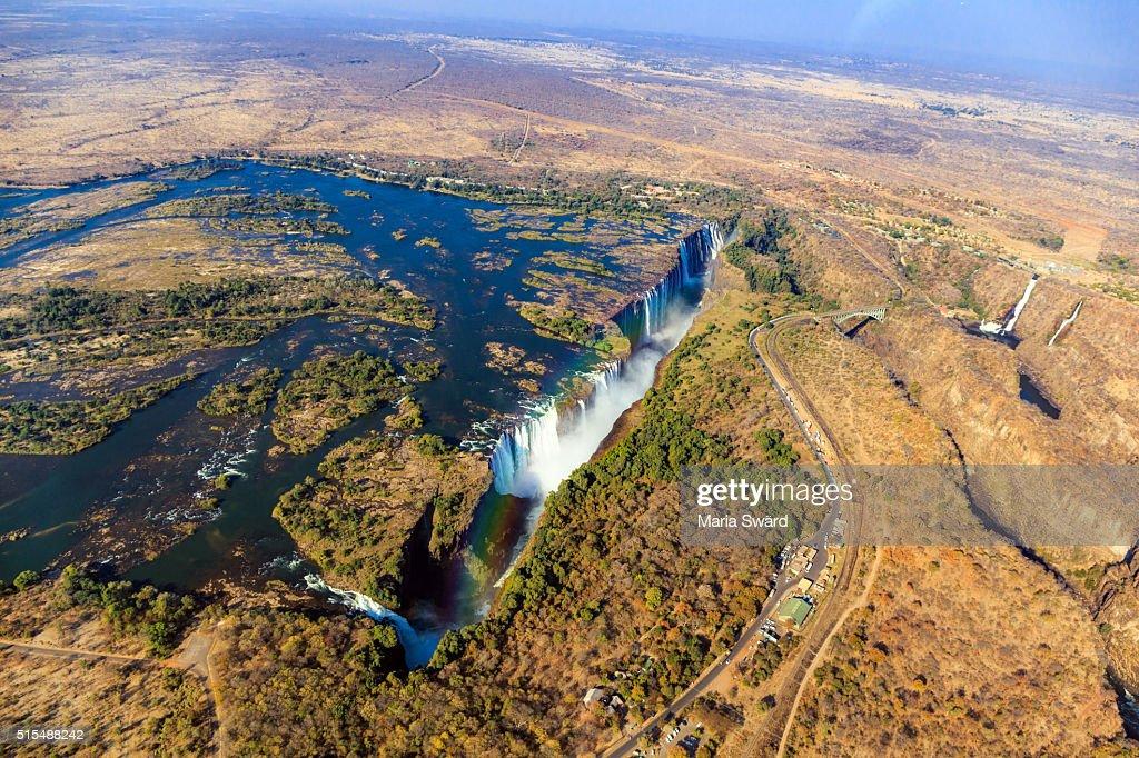 Aerial Victoria falls with rainbow, Livingstone, Zambia/Zimbabwe : Stock Photo