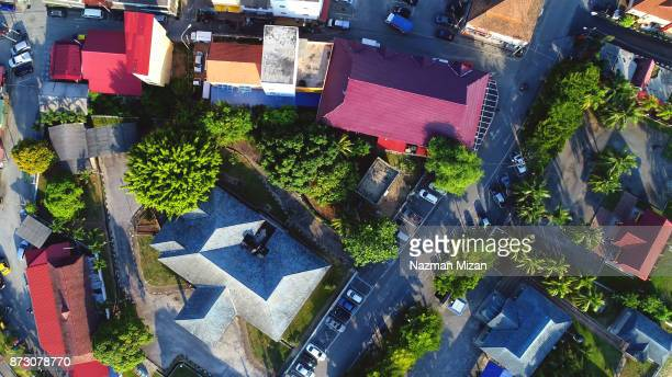 Aerial view. A view of small town in the morning.