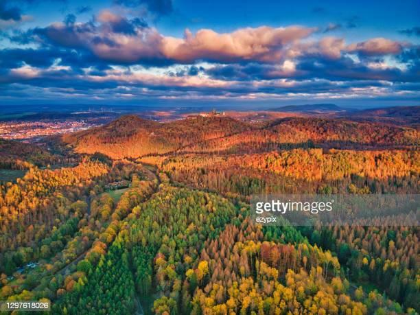 ヴァルトブルクの秋の森の上の空中写真 - アイゼナッハ ストックフォトと画像