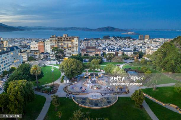 aerial view above lafayette park in san francisco - san francisco california stock pictures, royalty-free photos & images