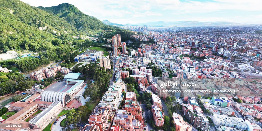 Aerial View above the City of Bogota Capital, Colombia : Stock Photo