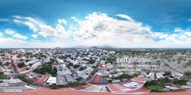 360° aerial view above the city of valledupar, colombia - equirectangular panorama - vista de 360 graus imagens e fotografias de stock