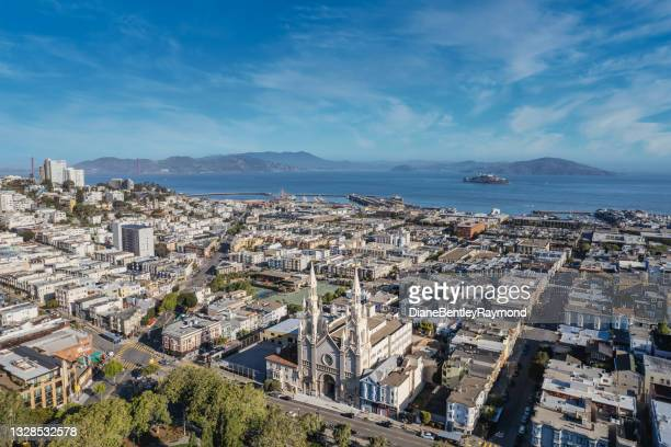 aerial view above washington square - north beach san francisco stock pictures, royalty-free photos & images