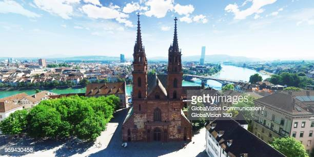 aerial view above wonderful gothic architecture of basel minster, switzerland - minster stock photos and pictures