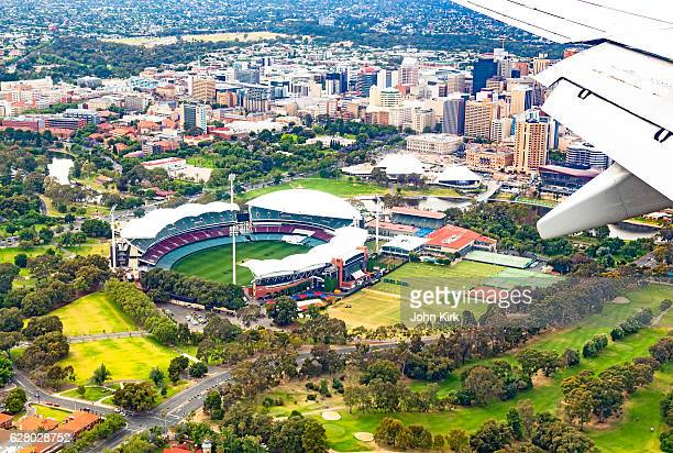 Aerial view Adelaide Oval, Torrens River, city buildings, university