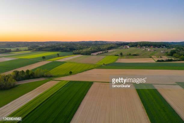 vista aerea: campi agricoli all'alba - terra coltivata foto e immagini stock