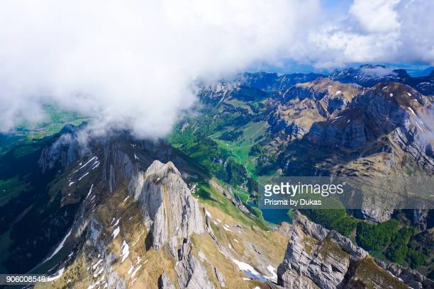 Aerial view Alpstein Seealpsee