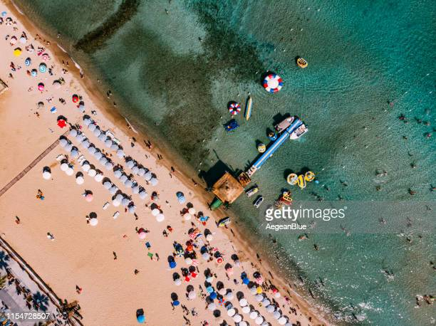 aerial view altinkum beach at turkey - belek stock pictures, royalty-free photos & images