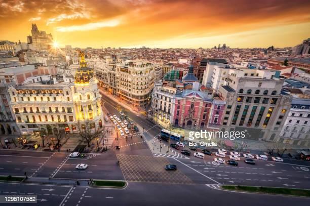 aerial view and skyline of madrid at sunset. spain. europe - madrid imagens e fotografias de stock
