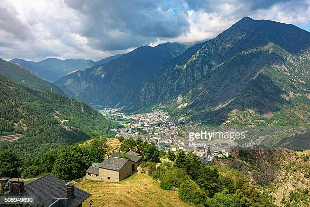 aerial view andorra la vella pyrenees mountains - andorra stock pictures, royalty-free photos & images