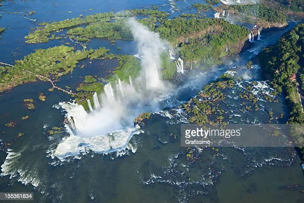 Aerial view Argentina Iguazu Waterfalls Garganta del Diablo