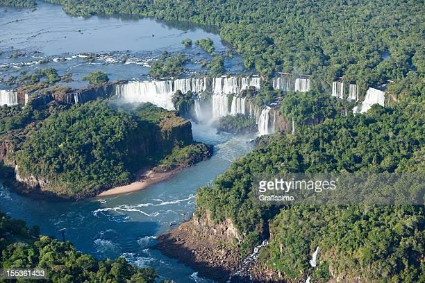 Aerial view Argentina Iguazu Waterfalls