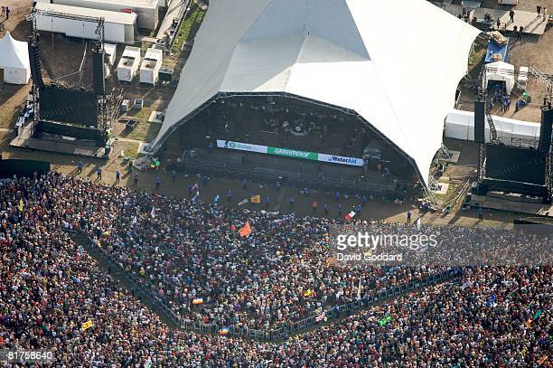 Aerial view as people move around the site at the Glastonbury Festival at Worthy Farm Pilton on June 28 2008 in Glastonbury Somerset England The...