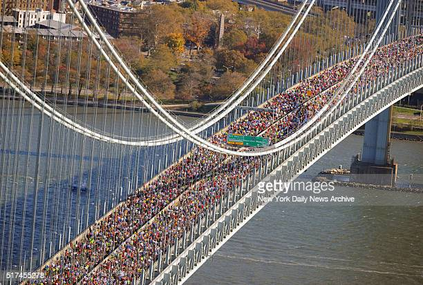 Aerial view as thousands of runners make their way into Brooklyn over the VerrazanoNarrows Bridge during the 2010 ING New York City Marathon