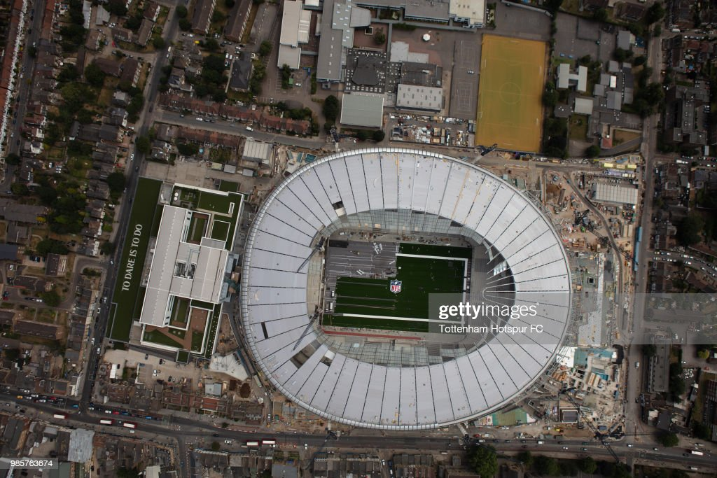 Aerial view as work continues on Tottenham Hotspur's new stadium at White Hart Lane on June 23, 2018 in London, England.