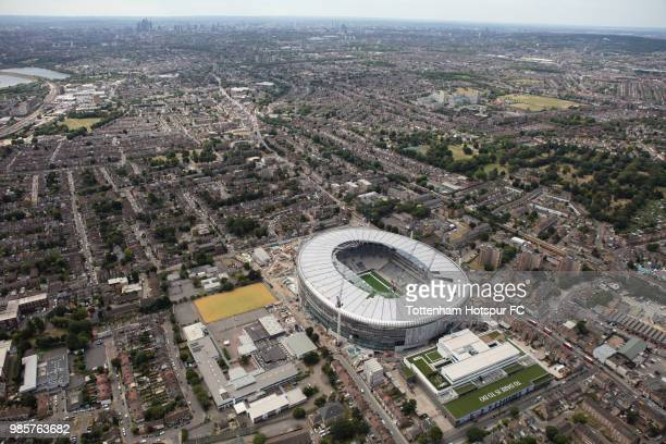 Aerial view as work continues on Tottenham Hotspur's new stadium at White Hart Lane on June 23 2018 in London England