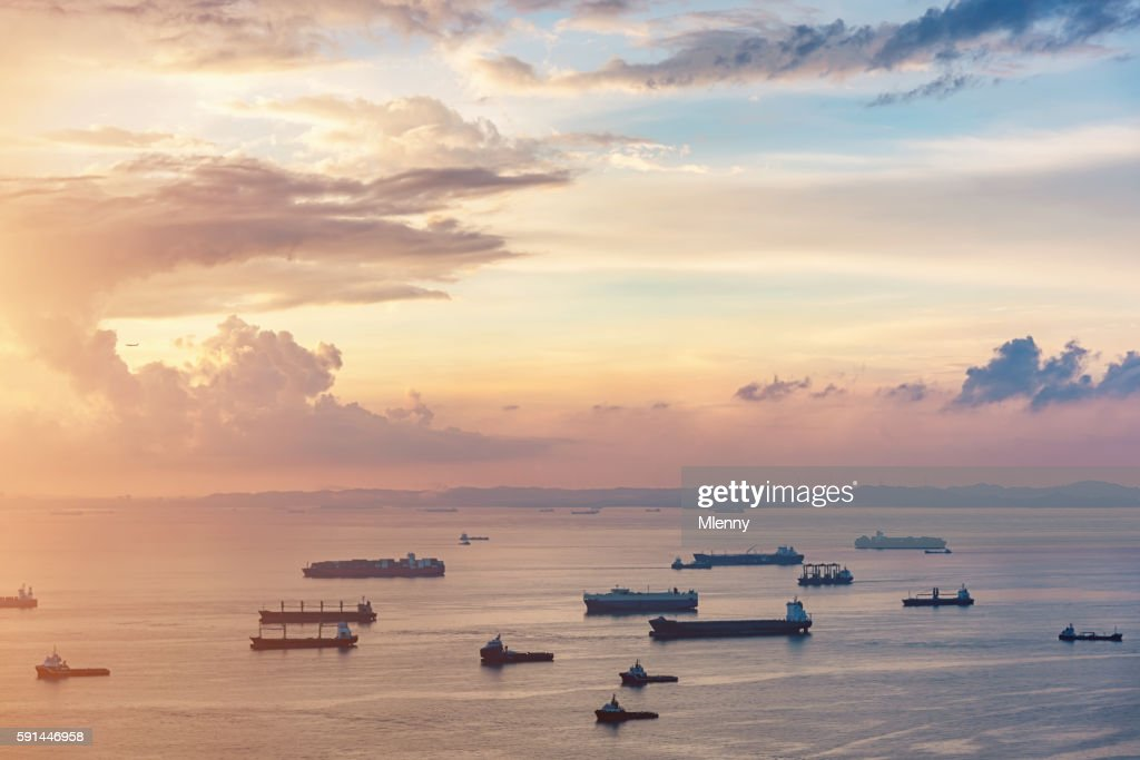 Aerial View Asian Container Ships Freight Transportation Sunrise : Stock Photo