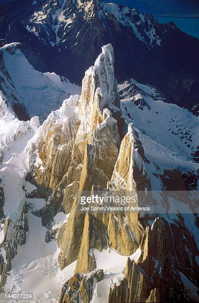 Aerial view at 3400 meters of Mount Fitzroy Cerro Torre Range and Andes Mountains Patagonia Argentina