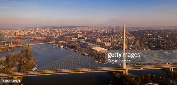 aerial view at ada bridge - belgrade serbia stock pictures, royalty-free photos & images