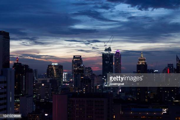 Aerial view at dusk of Pathum Wan