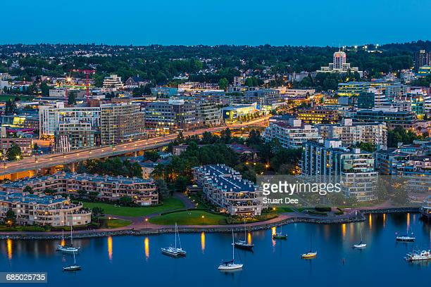 Aerial view at dusk, showing Cambie Street Bridge, Fairview, False Creek, and City Hall, Vancouver, BC, Canada