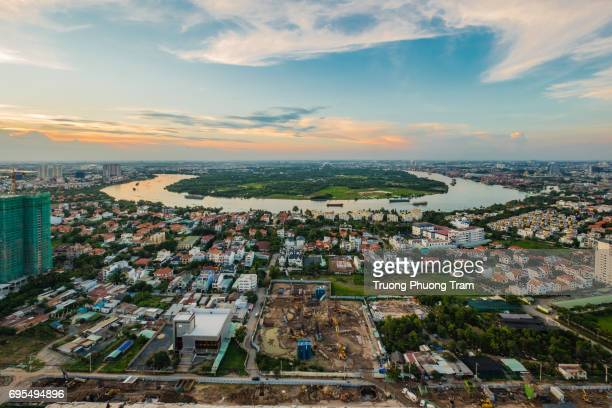 aerial view at ho chi minh city, viet nam - thiem stock pictures, royalty-free photos & images