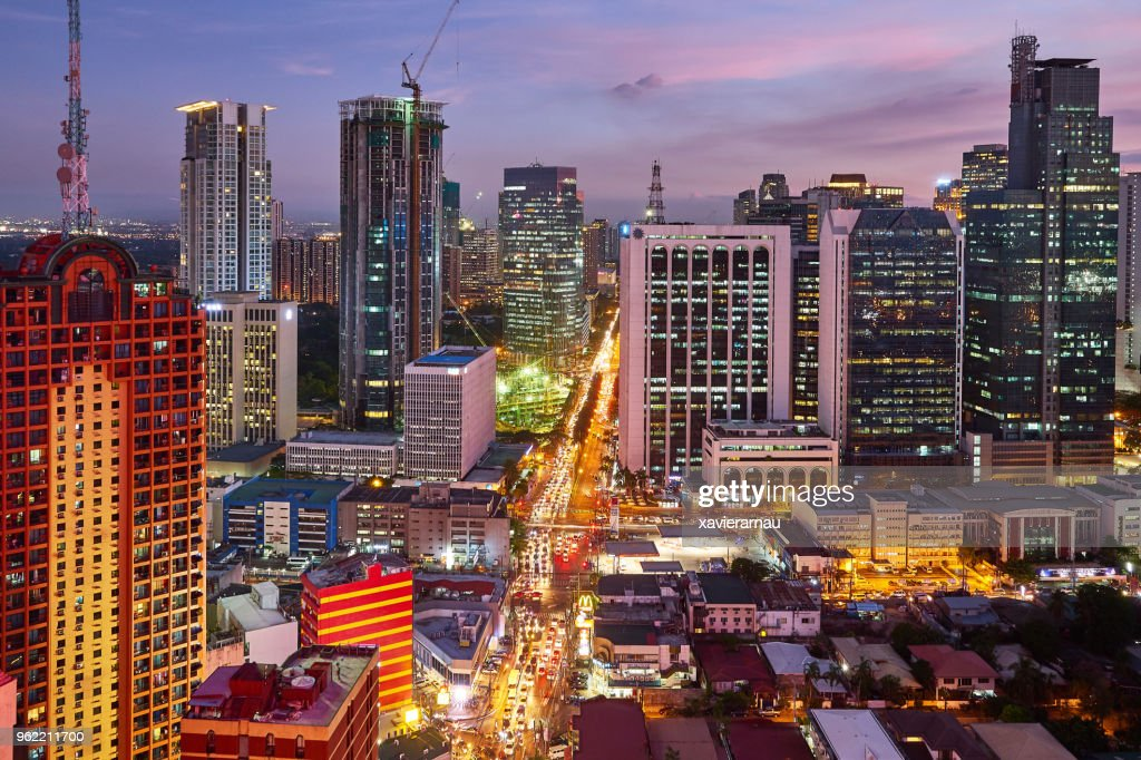 Aerial view at night of Makati,,business district of Metro Manila, Philippines : Stock Photo