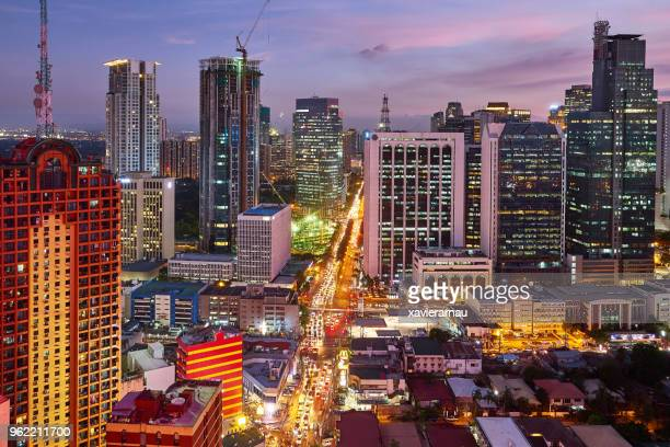 Aerial view at night of Makati,,business district of Metro Manila, Philippines