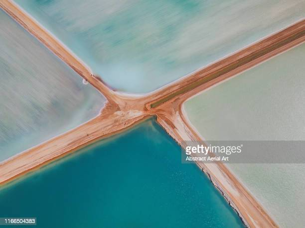 aerial view at the centre of four salt ponds, western australia - overhead view stock pictures, royalty-free photos & images
