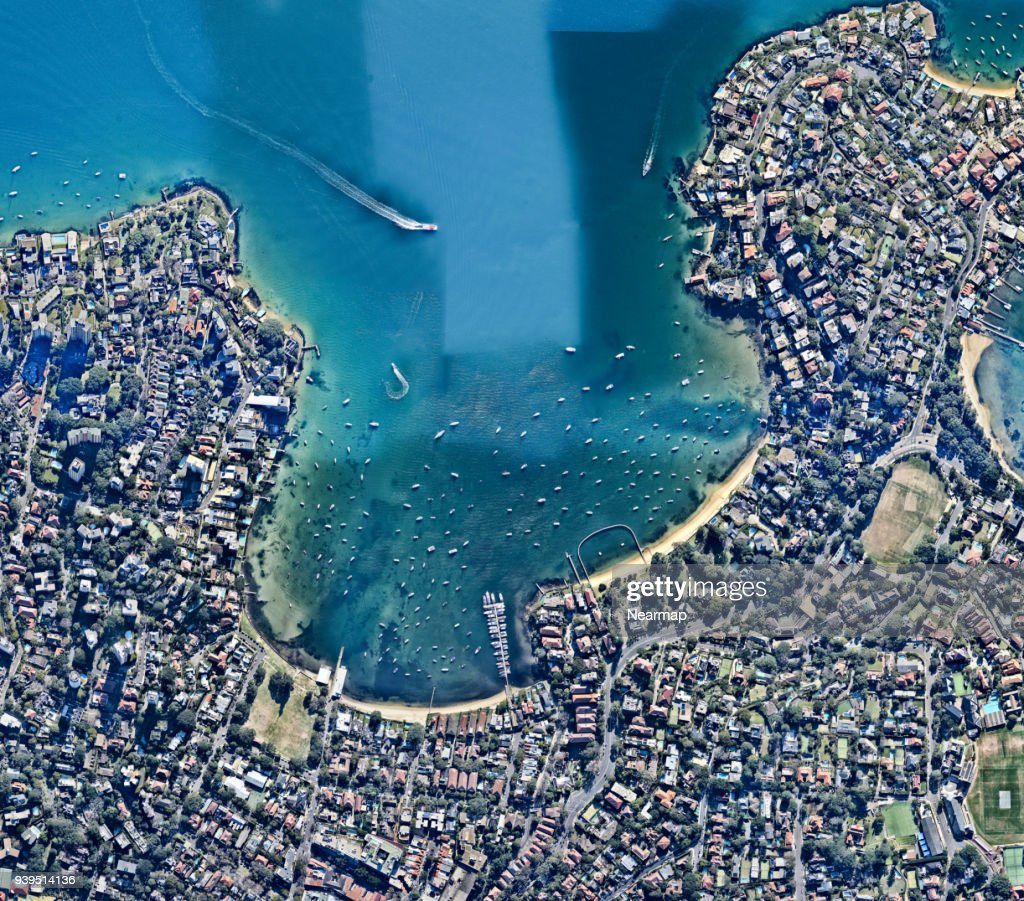 Aerial view, Australia, Bay, Boats, City, Cityscape, New South Wales, Outdoors, Overhead View, Photography, Pyrmont, Sydney : Stock Photo