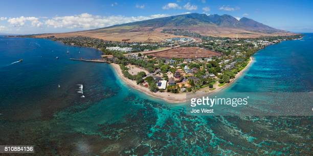 aerial view - baby beach - island of maui, hawaii - lahaina stock pictures, royalty-free photos & images