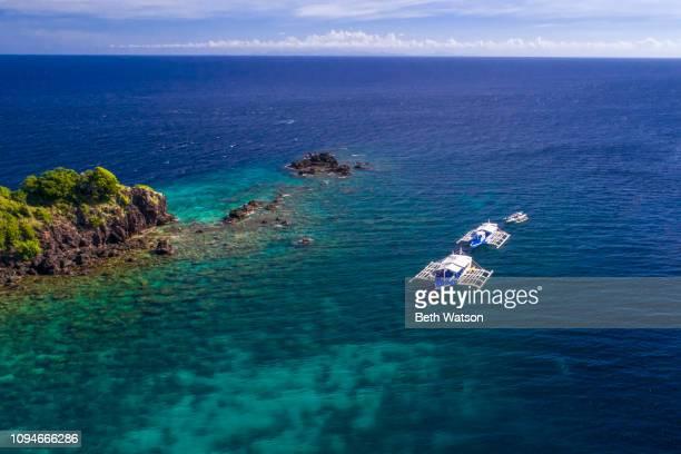 Aerial view Bangkas at Apo Island