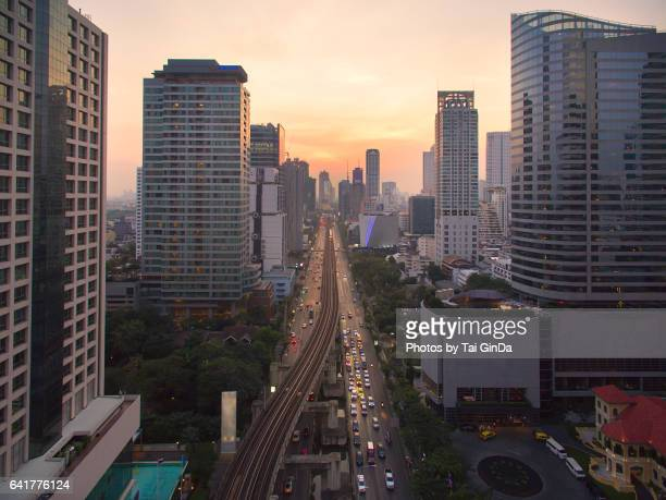 Aerial view Bangkok central business district downtown