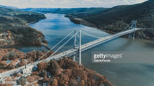 aerial view bear mountain bridge - bear mountain bridge stock pictures, royalty-free photos & images