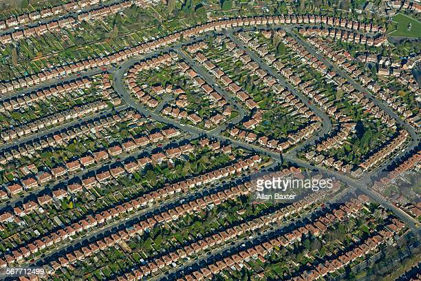 aerial view beechdale suburb of nottinghamshire - nottingham stock pictures, royalty-free photos & images