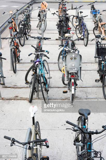 aerial view bicycle storage in barcelona, spain - bicycle parking station stock photos and pictures