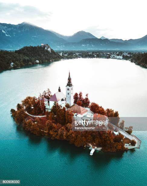 aerial view bled lake in slovenia