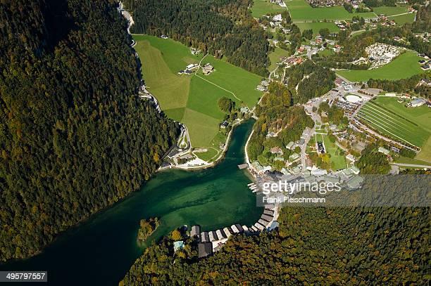 Aerial view, boat dock on Koenigssee lake, Konigssee, Schonau am Konigssee, Berchtesgadener Land District, Upper Bavaria, Bavaria, Germany