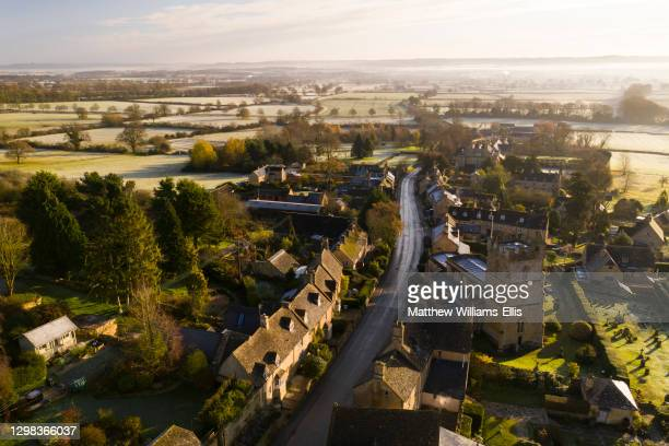 Aerial view, Bourton on the Hill, Cotswold Hills, Cotswolds, UK.
