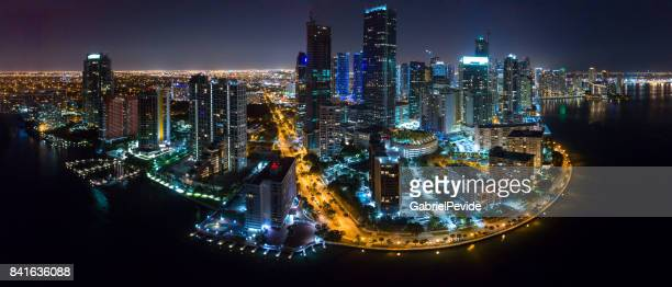 aerial view brickell at night - downtown miami stock pictures, royalty-free photos & images