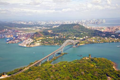 Aerial view; Bridge of the Americas, Panama 459047241