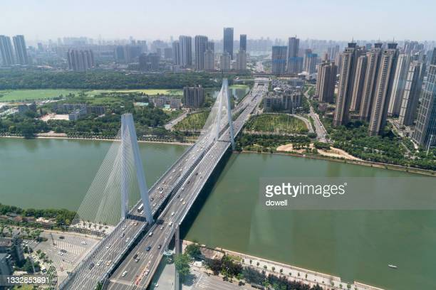 aerial view bridge - hubei province stock pictures, royalty-free photos & images